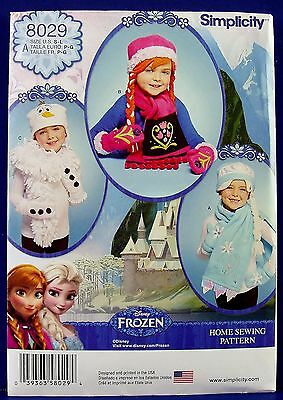 Simplicity Frozen Anna Elsa Olaf Hat Scarf Halloween Costume Sewing Pattern 8029
