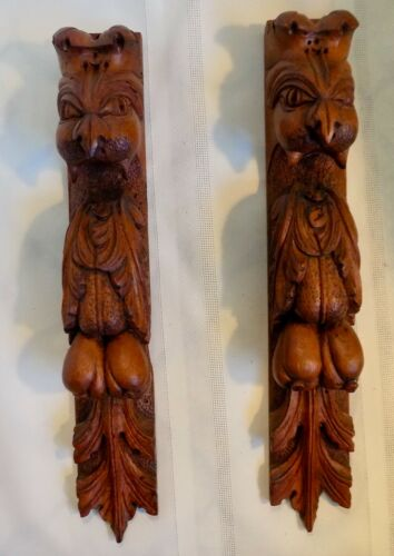 Antique Pair ARCHITECTURAL SALVAGE Corbels Brackets GRIFFINS Hand Carved Wood