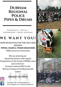 Pipers and Drummers Wanted For Bagpipe Band in Durham Region