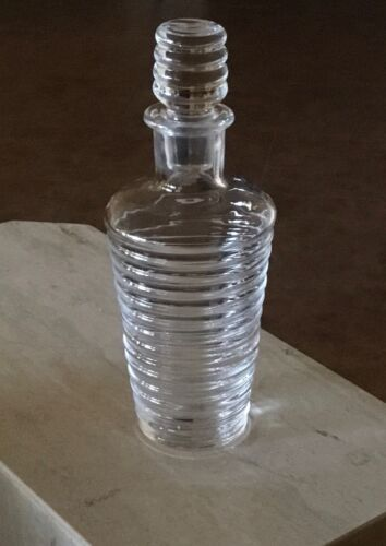 """Orrefors Crystal Ribbed Decanter with Stopper 10 1/4"""" Tall"""