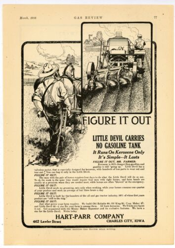 1916 Hart Parr Tractors Ad: Little Devil Kerosene Tractor - Charles City, Iowa