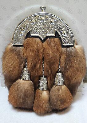 Scottish Kilt Original Rabbit Full Dress Sporran Antique Chrome Thistle Cantel, used for sale  Shipping to India