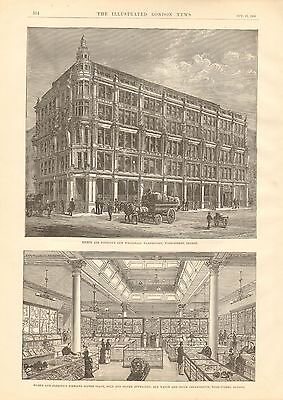 1884 ANTIQUE PRINT-SILBER AND FLEMING'S NEW WHOLESALE WAREHOUSE,WOOD ST,LONDON