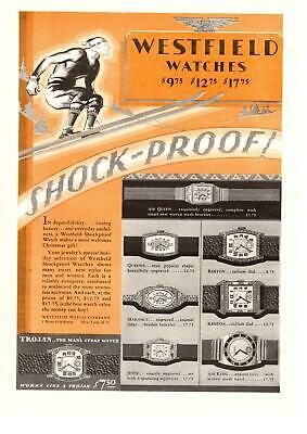 1929 Westfield Watch Company Shockproof Trojan Christmas Gift Hat Skier Print Ad