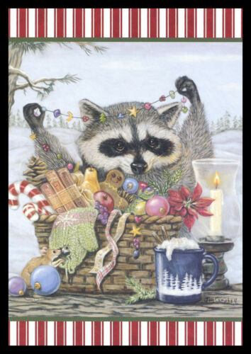 1101GC Joy Campbell - Mouse Raccoon - Christmas Greeting Card