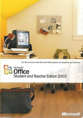 Microsoft Office Student   Teacher Edition 2003 No Product Key Pc Ms Word Excel