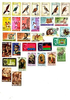 african stamps, lesotho and malawi