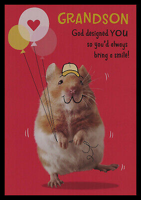 Religious Valentine Cards (839-MSA Hamster 'Grandson Religious' Valentine's Day Greeting Card)