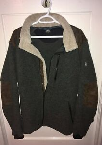 Kuhl Men's Sz L Alpenwurxs Full Zip Suede Sherpa Fleece Jacket