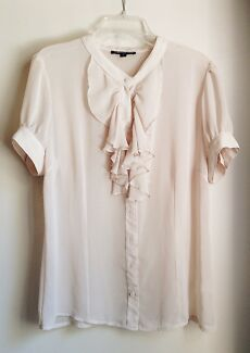 Rebecca Ruby sheer cream blouse