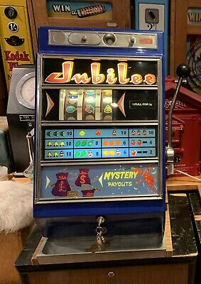 Vintage Jubilee One Arm Armed Bandit Slot Machine Penny Arcade Fruit Amusement