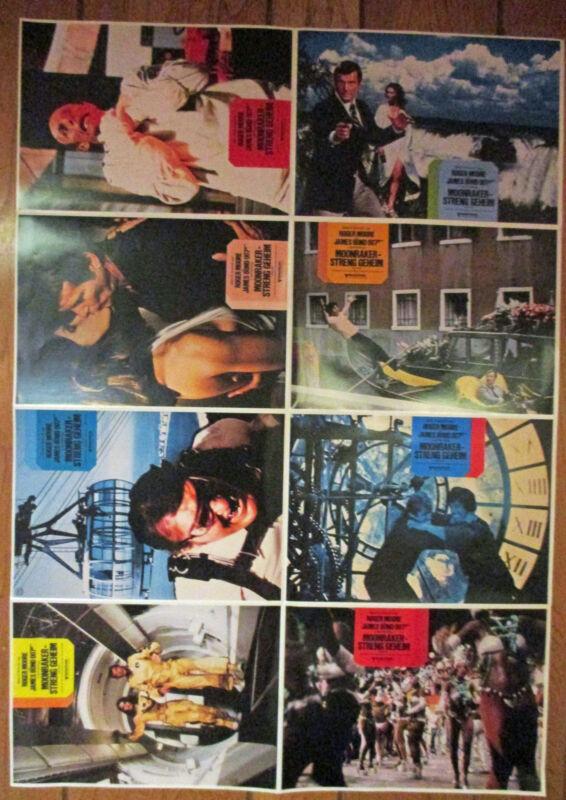 JAMES BOND MOONRAKER ORIGINAL SET OF 8 LOBBY CARDS ON ONE SHEET ROGER MOORE