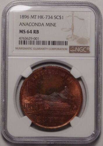 1896 HK-734 Butte Montana Anaconda Mine So Called Dollar Miner Tools Medal Token