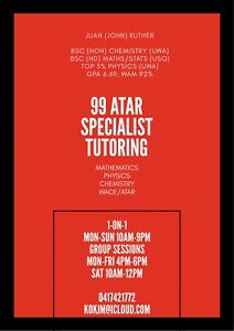 EXPERIENCED SPECIALIST TUTOR, MATHS, CHEM, PHYSICS-99 ATAR  TUITION