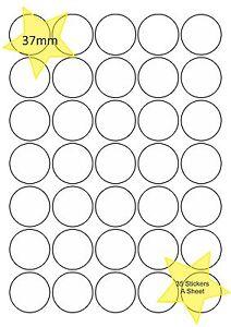 a4 feuille papier rond circulaire tiquettes blanches laser imprimante jet d encre autocollants. Black Bedroom Furniture Sets. Home Design Ideas