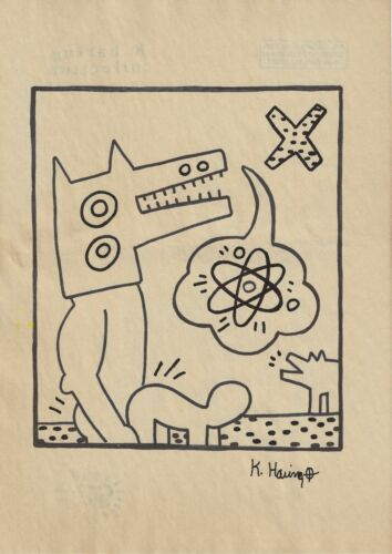 Keith Haring handmade drawing on old paper signed & stamped (8.3 x 11.7 inch)