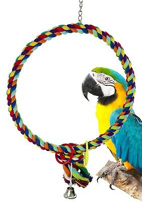 1046 Huge17 Inch Rope Ring Bird Toy Parrot Cage Toys Cages Cockatoo Macaw Amazon