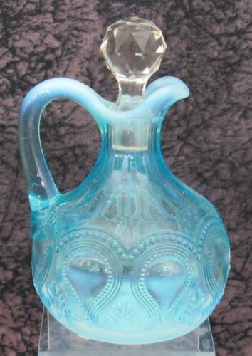 Antique EAPG Northwood Scroll w/Acanthus Pattern Blue Opalescent Glass Cruet