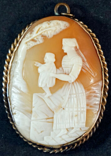 Antique Hand Carved Italian Shell Cameo Pendant Mother and Child