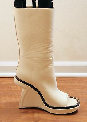 NEW MARNI  OPEN TOE WEDGE BOOT SHOES IN CREAM LEATHER SIZE 40 NOW 459 (Open-toe Wedge Boot)