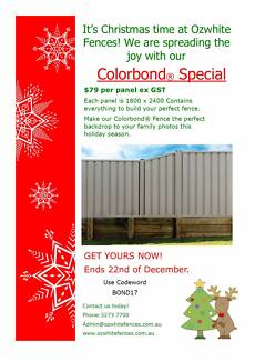 *** COLORBOND® FENCING CHRISTMAS SPECIAL $79 SPECIAL! *** Acacia Ridge Brisbane South West Preview
