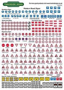 UK Road Signs (Modern) - Model Railway (Uncut) - OO Gauge 4mm - Trackside Signs