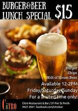 $15 Burger and Beer Lunch Special! Perth Northern Midlands Preview
