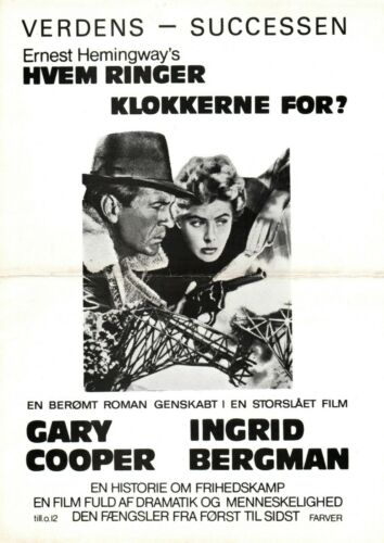 For Whom The Bell Tolls Gary Cooper Ingrid B 1943 Vtg Danish Movie Press Release