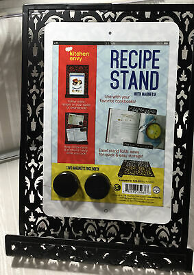 "Decorative Black Metal Standing Recipe/Book/Tablet Holder 11.25""x8"" 2 Magnets"