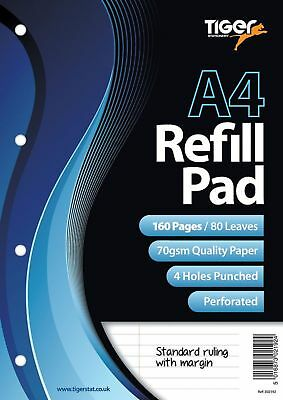 A4 Refill Pad Paper 160 Page 4 Holes Feint Ruled Margin Tiger Stationery Filing for sale  Shipping to Ireland