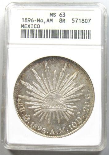 1896-Mo AM Mexico 8 Reales, ANACS MS63
