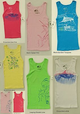 GUY HARVEY WOMEN'S RIB KNIT TANK TOP BLOUSE SLEEVELESS SHIRT BEACH FISH SCENE ()