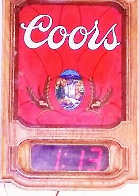 Vintage 1980 Coors Beer Digital Wall Clock/ Neon Tavern Beer Sign