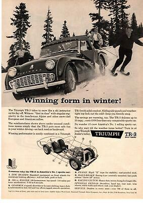 1960 Standard Triumph Motor Company TR3 Pulling Skiers Downhill In Snow Print Ad