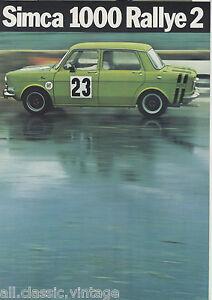 SIMCA-1000-Rallye-2-brochure-prospekt-folder-Dutch-1972-Rare-Selten