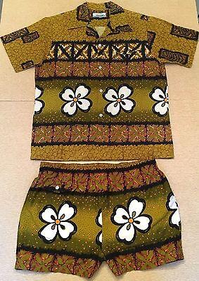 Vintage Cabana Set / Hawaiian Shirt & Swim Trunks / Tiki Fashion Shirt + Shorts