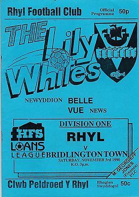 RHYL V BRIDLINGTON  TOWN   NORTHERN PREMIER LGE DIVISION ONE 3/11/90