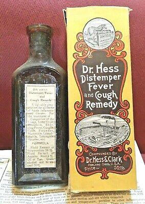 Antique Medicine Bottle Quack:Veterinary Distemper, Fever, Cough w/Stramonium Drug