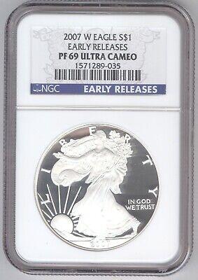 2007 W Eagle S$1 PF 69 Ultra Cameo + American Silver Eagle + NGC + No Reserve!