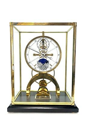 24K Astronomical Porcelain Dial 8 Day Fusee Chain Skeleton Clock with Moon Dial ()