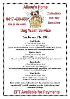 Dog grooming starting from $35