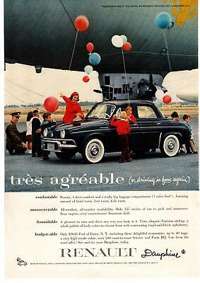 """1958 Renault Dauphine 4-Door """"très agréable"""" Airship Dirigible Balloon Print Ad"""