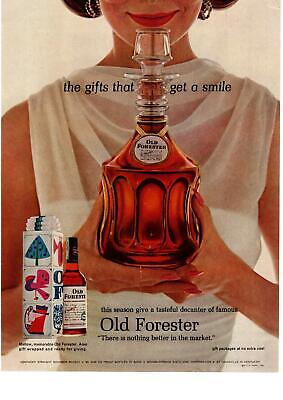 1963 Old Forester Bourbon Whiskey Christmas Decanter Gift Wrapped Box Print Ad