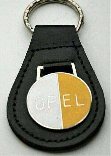 Vtg Opel Leather Automotive Car Metal Key Chain FOB 1970s NOS New