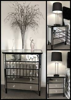 Elegant Hamptons Pair of Mirrored Bedsides and Tallboy RRP $2897