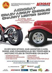 Acrobat Crazy About Chrome charity motor show Broadmeadow Newcastle Area Preview