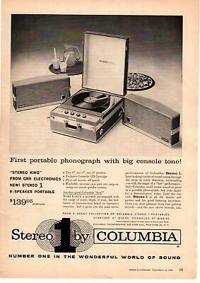 1959 Stereo 1 6-Speaker Portable Phonograph By Columbia CBS Electronics Print Ad