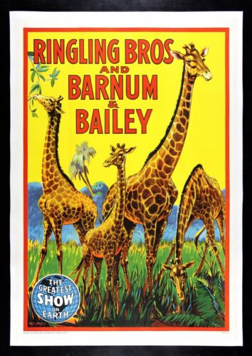 RINGLING BROS BARNUM BAILEY CineMasterpieces JUNGLE AFRICA GIRAFFE CIRCUS POSTER