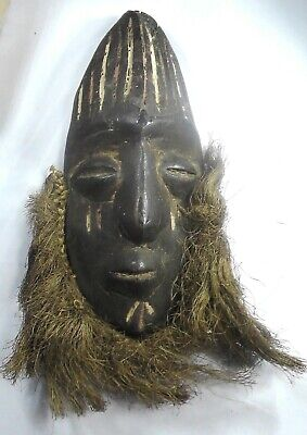 Vintage Authentic African Tribal Hardwood carved Mask with Beard.