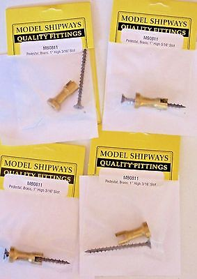 """Model Ship Boat Accessories Fittings  Brass Pedestal 1"""" High 3/16"""" Slot Lot of 4"""